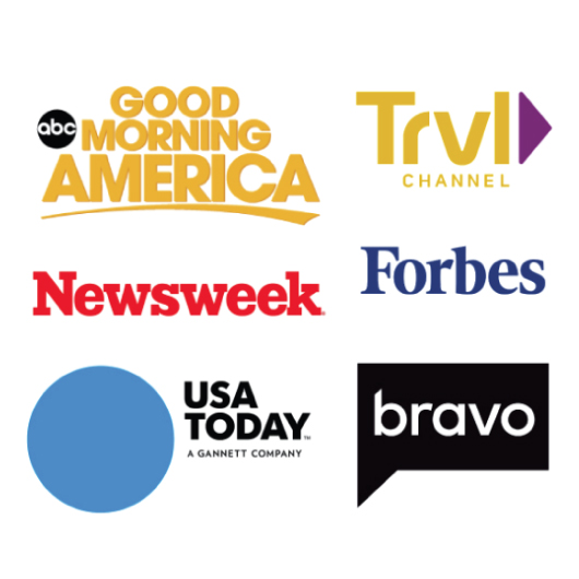 Good Morning America, Travel Channel, Newsweek, Forbes, USA Today, and bravo tv network logos